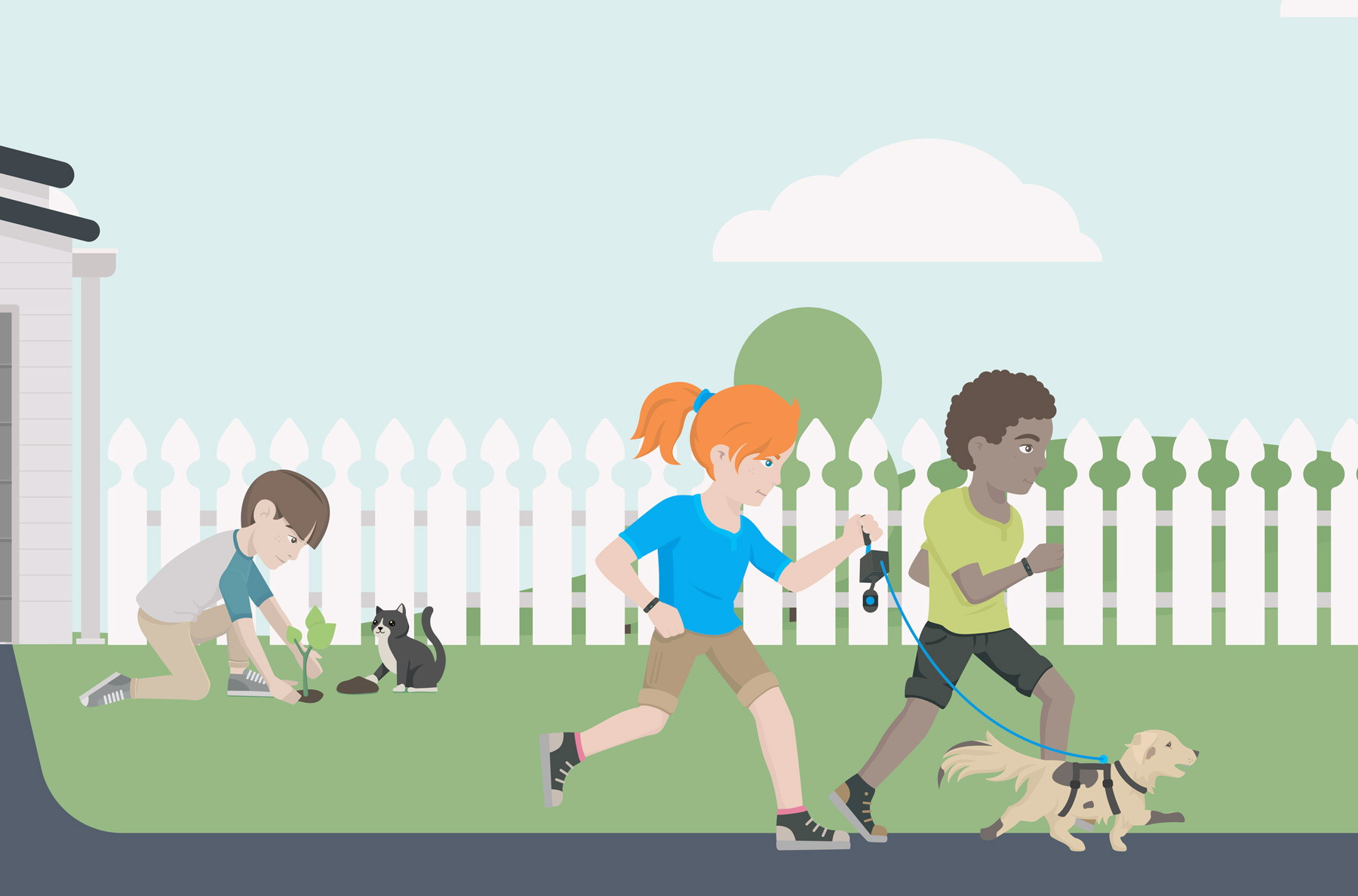 Safe Animal Squad running dog illustrations design by Sinclair Creative Agency